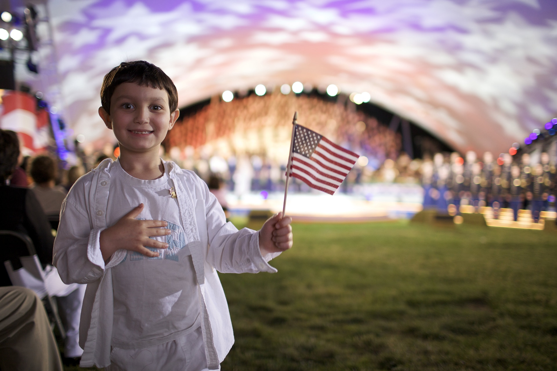 Young Patriot Waves a Flag